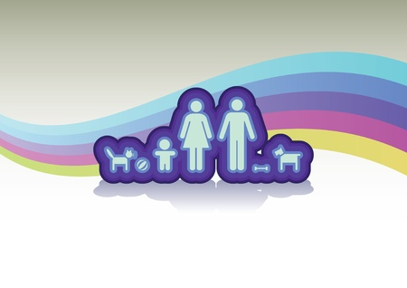 family in basic on rainbow background - illustration Vector