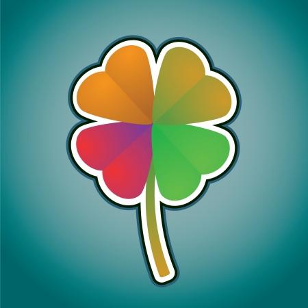 four leafed clover: multicolored four-leaf clover - illustration Illustration