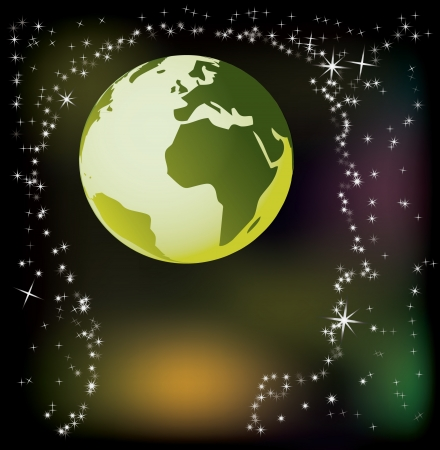 the natural world: globe in head - abstract illustration Illustration
