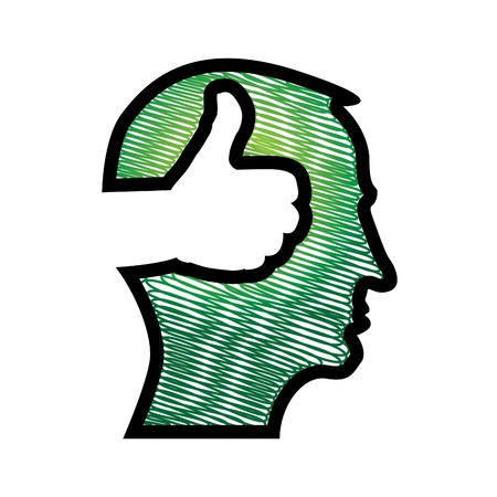 thumb up in head illustration Stock Vector - 13868448