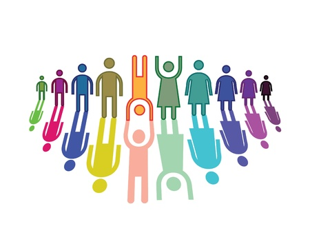 Color people in horizontal line Stock Vector - 14002348