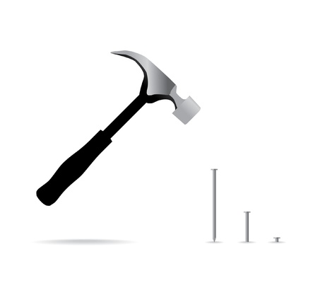 hammer and nail isolated - illustration Vector
