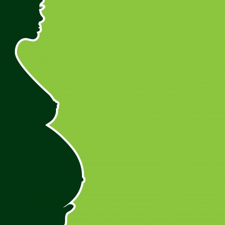 pregnant naked woman silhouette - illustration Illustration