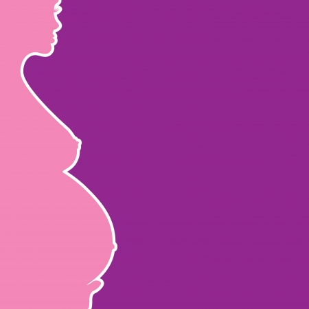 pregnant naked woman silhouette - illustration Stock Vector - 14002360