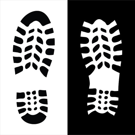 walking shoes: Shoe print illustration Illustration