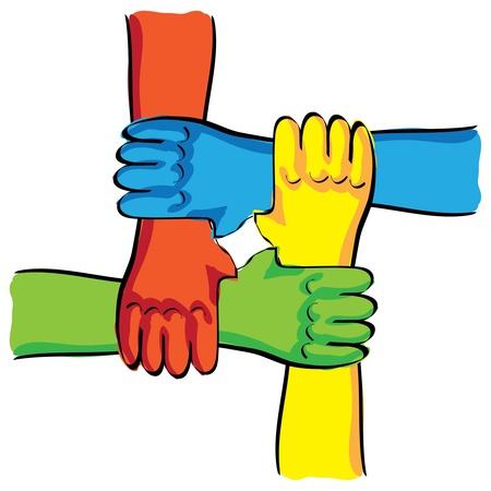 symbolic teamwork hands connection - illustration Stock Vector - 14002354