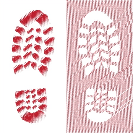 wooden shoes: Shoe print illustration Illustration