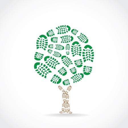huella pie: Zapatos de imprimir en una silueta de árbol - ilustración