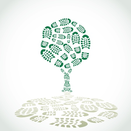green footprint: Shoes print in a tree silouette - illustration Illustration