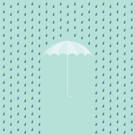 fall protection: EPS10 raining on a umbrella - illustration