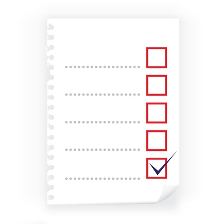 Close up of checkbox notepad paper Vector