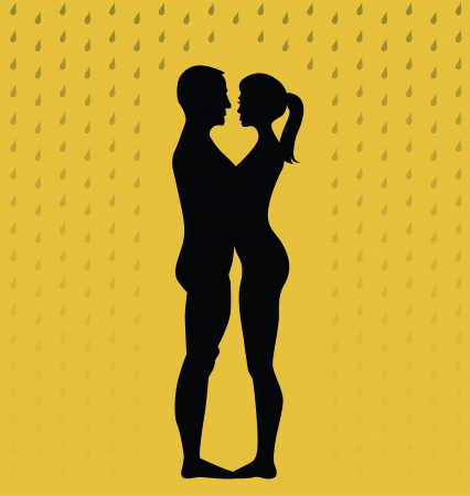 silhouette of young couple standing in the rain - illustration Vector