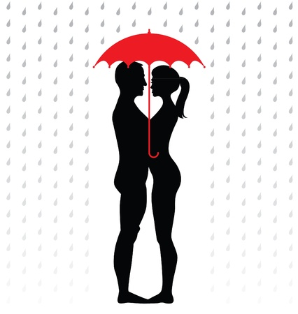 silhouette of young couple under an umbrella, standing in the rain - illustration Vector