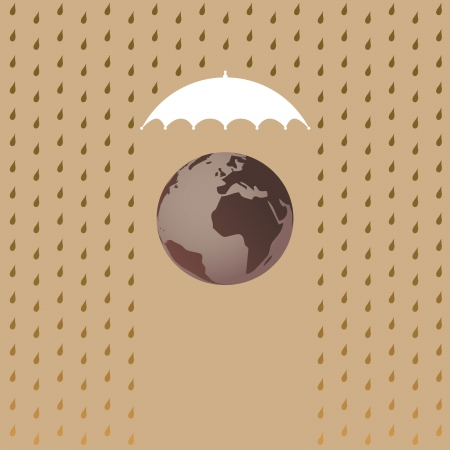 Planet Earth under umbrella - illustration Vector