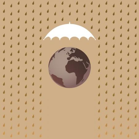 world security: Planet Earth under umbrella - illustration Illustration