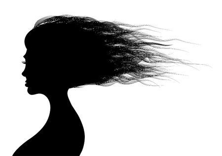 Beautiful woman hairs in silhouette illustration Vector