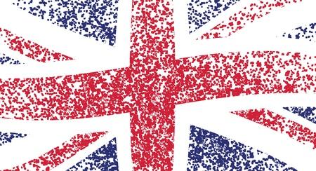 britain flag: UK flag, wavy -  grunge illustration