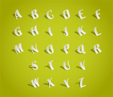 alphabetic: Alphabet font, cut of paper - illustration