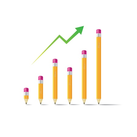 Business graph from pencils, isoated on white - illustration Stock Vector - 14228308