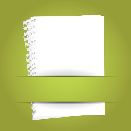 fold back: green background with papers and place for your text