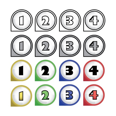 rounded multicolor pointers with numbers - isolated illustration Vector