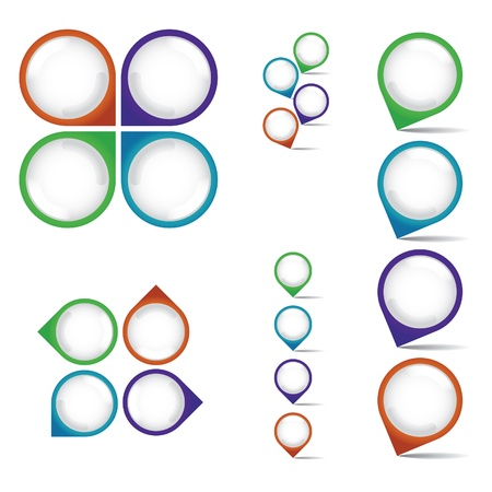 arrow circle: set of empty rounded multicolor pointers - isolated illustration Illustration