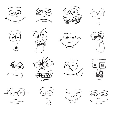 set of cartoon emotion on faces Vectores