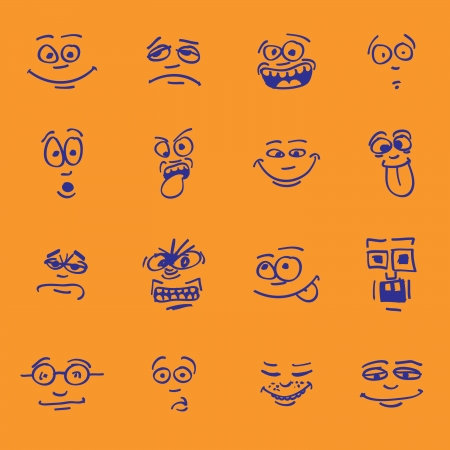 set of cartoon emotion on faces Stock Vector - 14293616