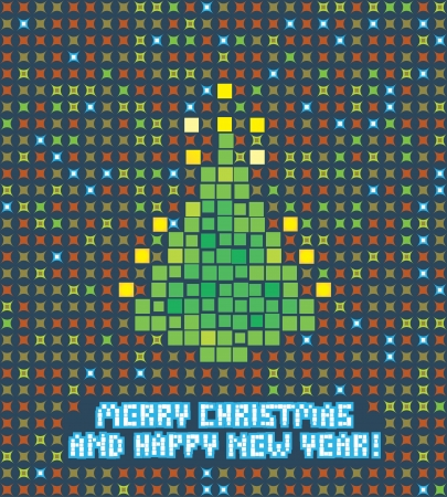 80's: isolated abstract pixel christmas tree illustration