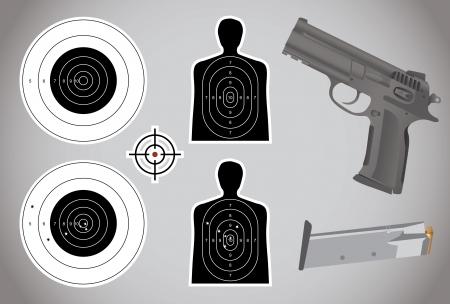 military training: gun, ammo and targets - illustration