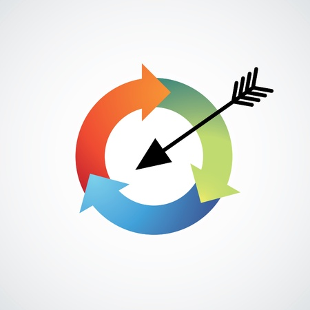 circle arrow: arrow in a recycle circle target - illustration Illustration