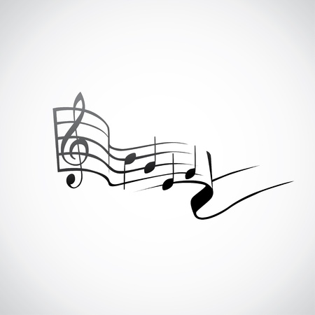 octaves: g key and notes in one tact logo - illustration