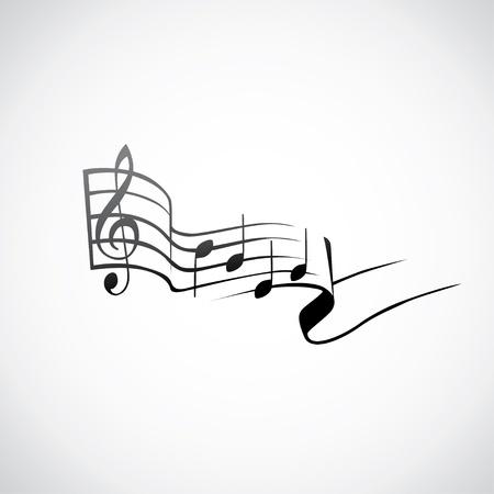 partition musique: touche g et des notes dans un logo de tact - illustration