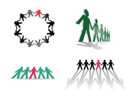 linked: human figures in a row - illustration