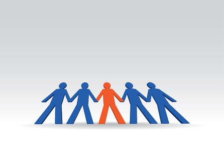 people holding hands: human figures in a row - illustration
