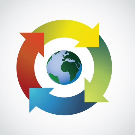 continuity: Planet Earth in arrow circle - illustration