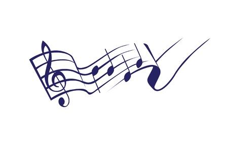 clef de fa: touche g et des notes dans un logo de tact - illustration