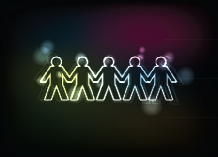 cooperativa: figuras humanas en una fila - ilustraci�n