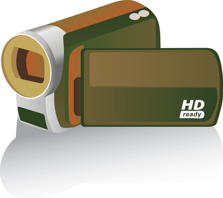brown colored hd camcorder - illustration Stock Vector - 14509622