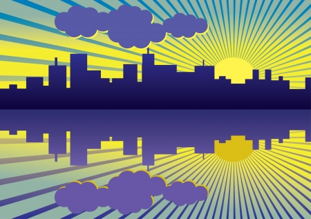 sea side: morning city panorama picture - illustration