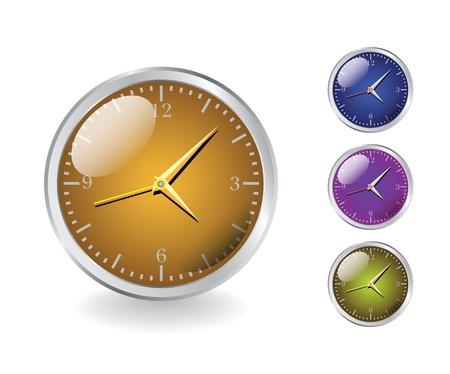 four modern shiny metal clocks - realistic illustration Stock Vector - 14509632