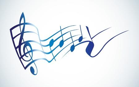 clave de sol: g clave y notas en el logo de un contacto - ilustraci�n