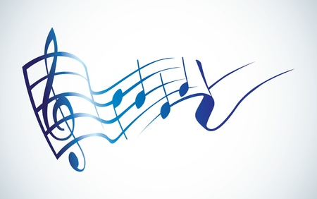 treble clef: g key and notes in one tact logo - illustration