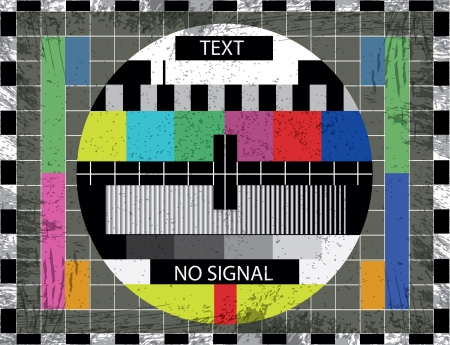 offline: tv color test screen on grunge background - illustration Illustration