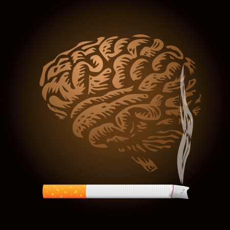 addictive: cigarette and human brain background - illustration