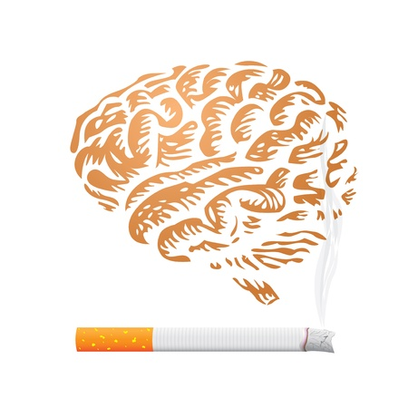 drug addict: cigarette and human brain background - illustration