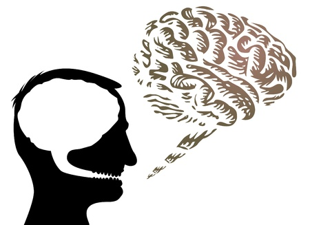 mind body: human head with brain outside - isolated illustration Illustration