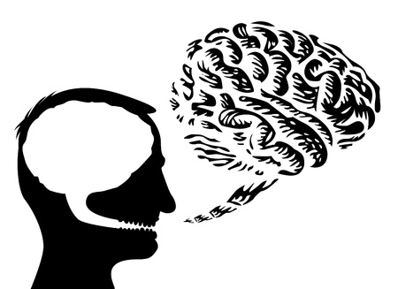 mentality: human head with brain outside - isolated illustration Illustration