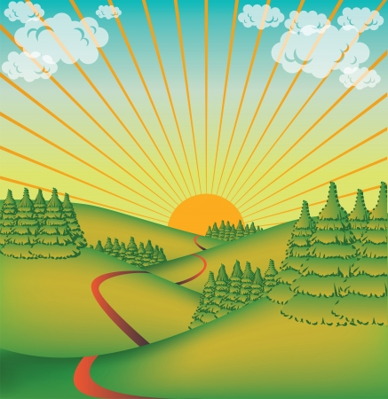 countryside landscape: cute countryside valley - illustration Illustration
