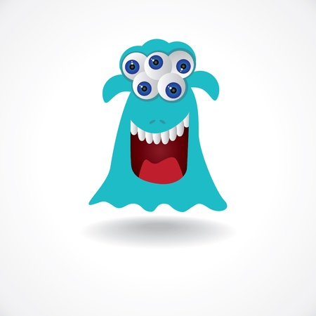 nasty: blue creature monster with five eyes - illustration
